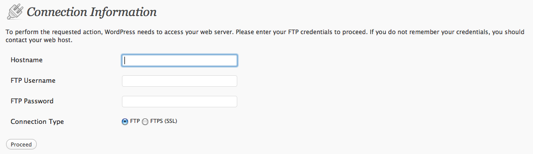 WordPress asks for FTP credentials