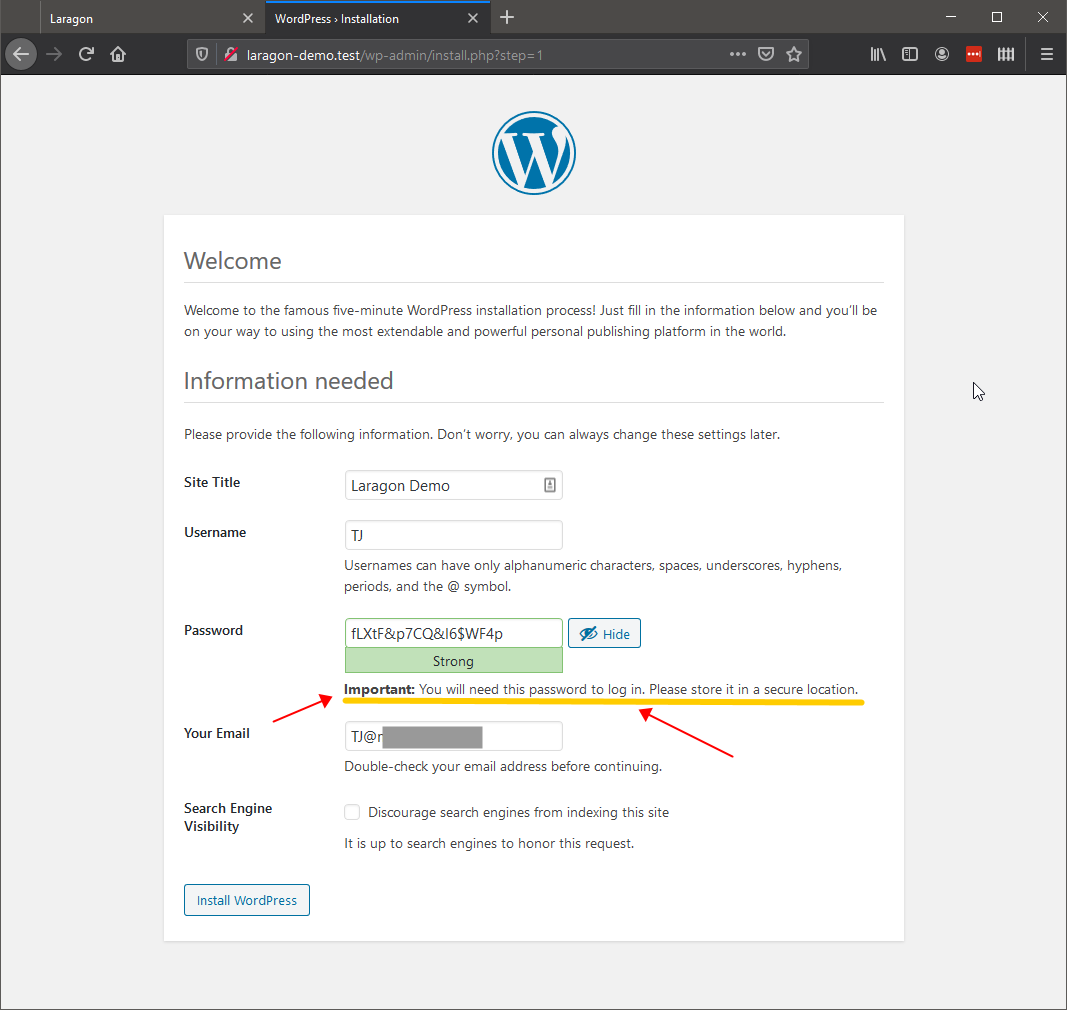 11. WP Install - Save your Password!